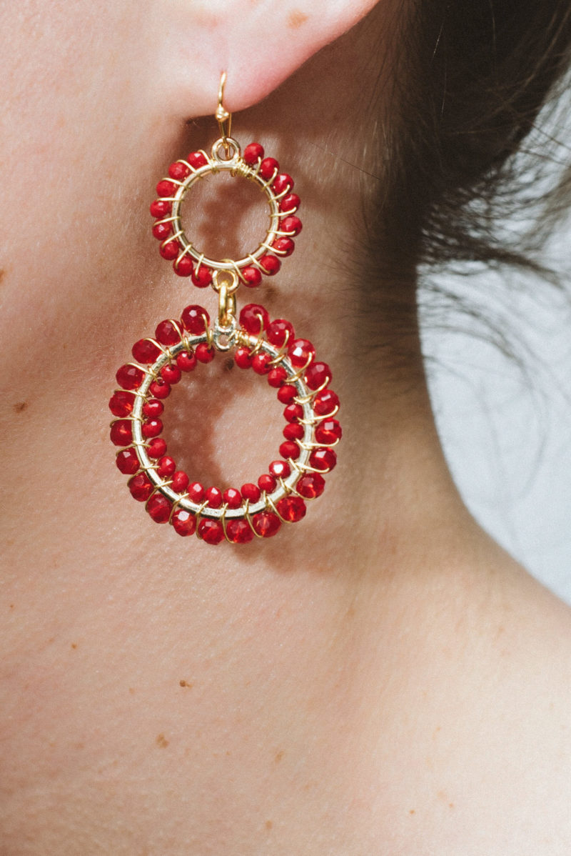 Double Crystal Earring Red,womans,accessories,southafrican