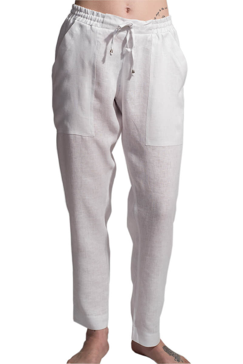 Harley White Linen Trouser F,womens,pants,trousers,linen,soft,comfortable,handmade