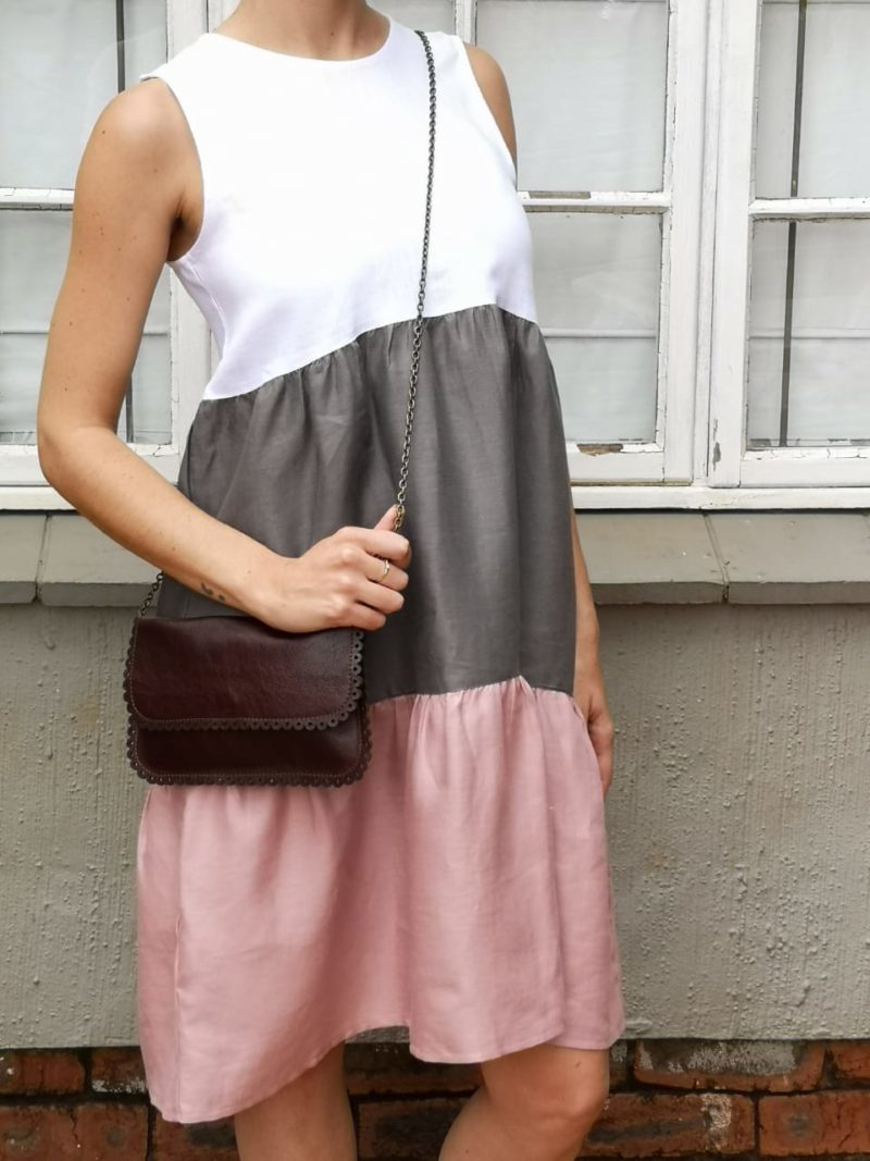 Jaimie Pink Linen Dress3,women,linen,pink,clothing,designer,dress,leather,bag