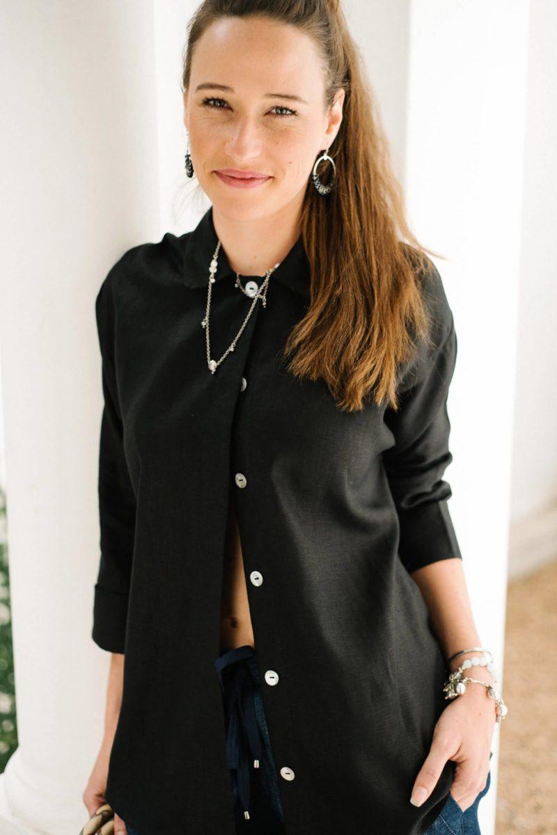 Hepburn Black Linen Shirt,linen,women,designer,handmade,black,stylish,local,buttons
