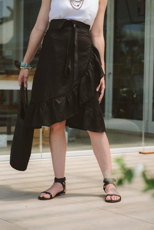 Bardot Black Linen Skirt f,skirts,ladies,women,clothing,boutique,linen,summer (1)