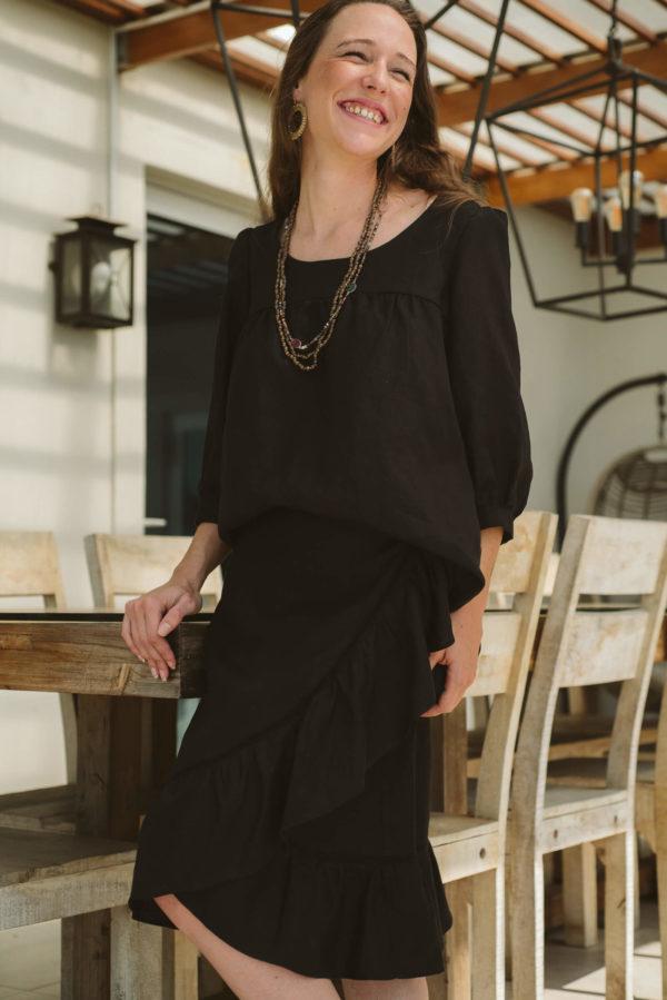 Bardot Black Linen Skirt,skirt,linen,women,clothing,online,designer,handmade,black (1)