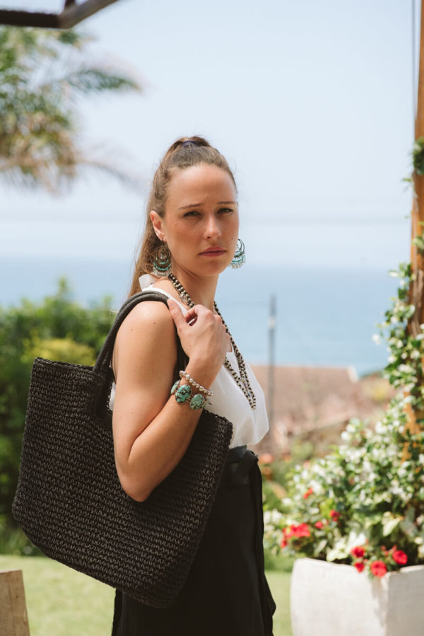 Raffia Black Tote Bag,ladies,raffia,handmade,bag,online,local (1)