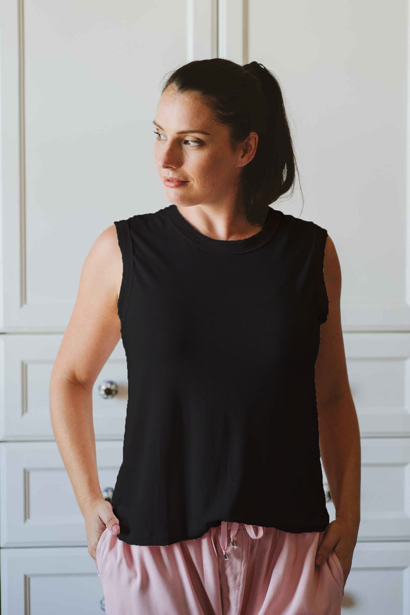 Sleeveless-T-black-loungewear-made-in-South-Africa-local-natural-fabric.